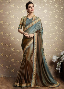 Brown and Teal Embroidered Work Satin Silk Contemporary Saree