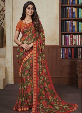 Brown and Tomato Faux Georgette Trendy Classic Saree For Ceremonial