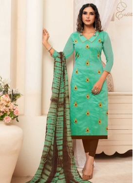 Brown and Turquoise Embroidered Work Churidar Salwar Kameez