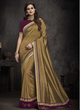 Brown and Wine Art Silk Designer Contemporary Style Saree