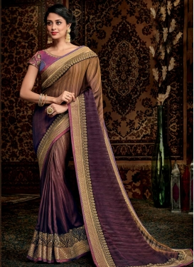 Brown and Wine Contemporary Style Saree