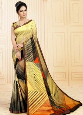 Brown and Yellow Digital Print Work Traditional Designer Saree
