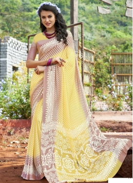 Brown and Yellow Print Work Contemporary Saree