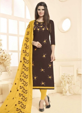 Brown and Yellow Trendy Churidar Suit