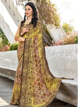 Brown and Yellow Trendy Saree