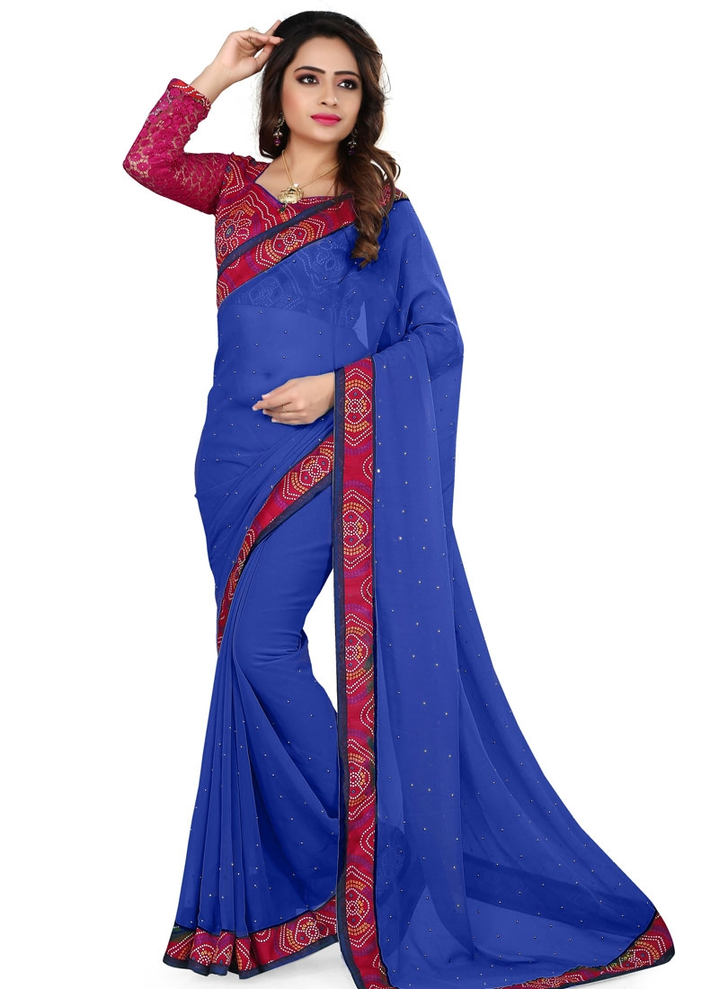 Capricious Beads Work Blue Color Casual Saree