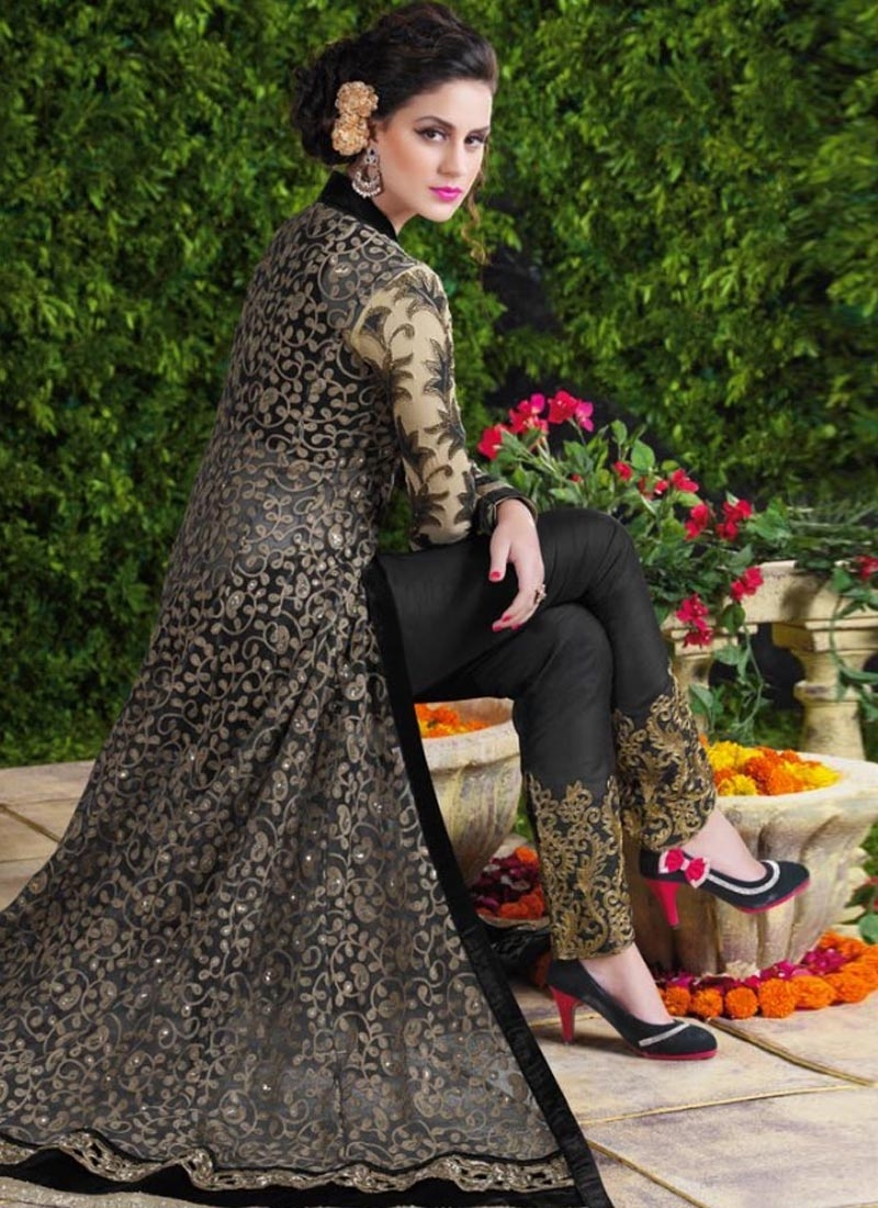 Capricious Black Color Net Long Length Designer Salwar Suit