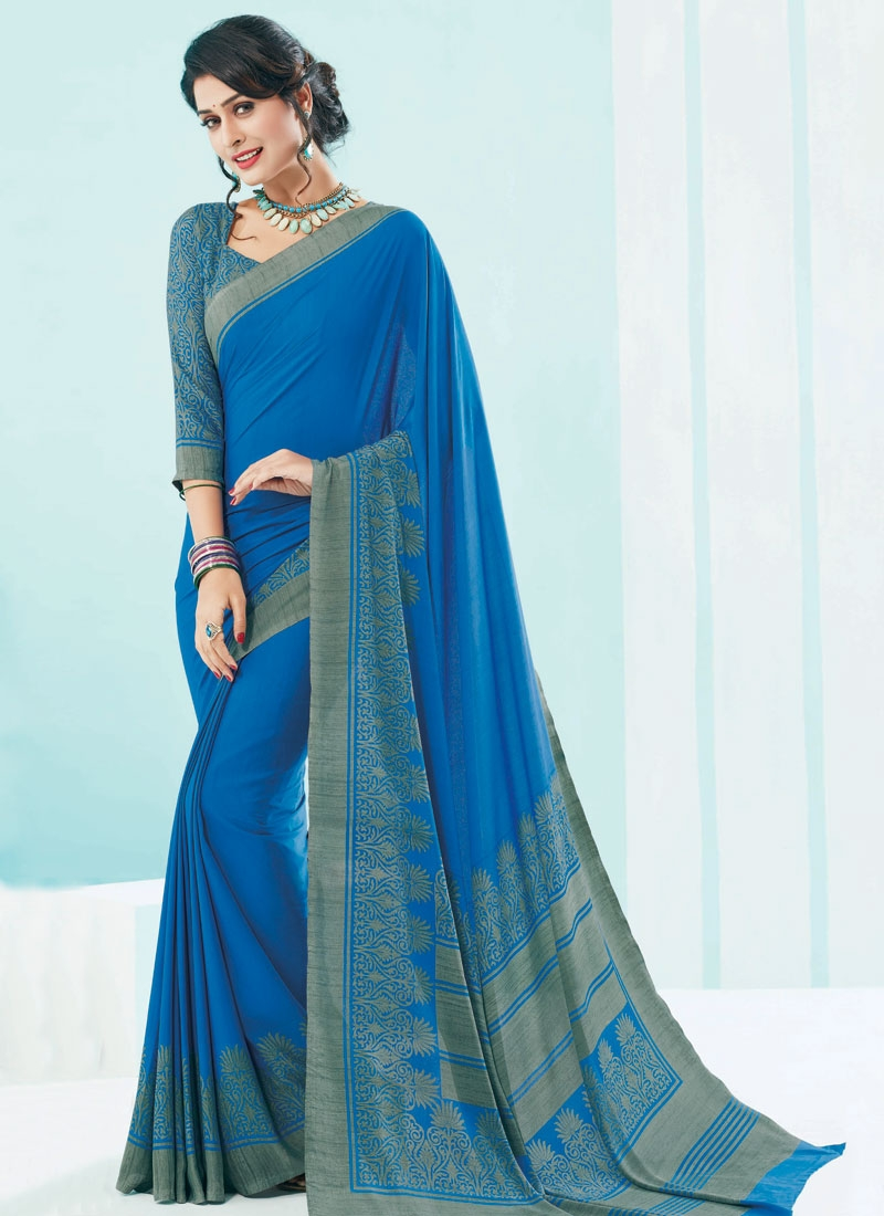 Capricious Blue Color Crepe Silk Casual Saree
