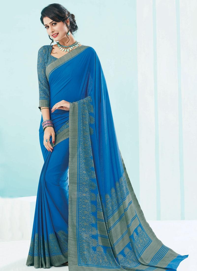 Capricious Blue Color Crepe Silk Casual Saree