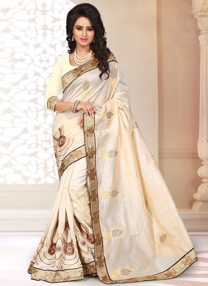 Capricious Chanderi Silk Booti Work Party Wear Saree