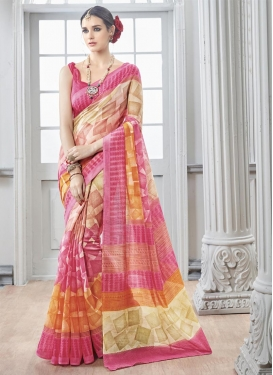 Capricious  Cream and Hot Pink Art Silk Digital Print Work Contemporary Style Saree