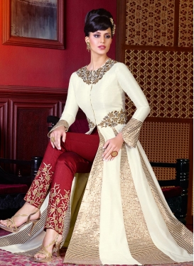 Capricious Crimson and White Embroidered Work Pant Style Designer Salwar Kameez