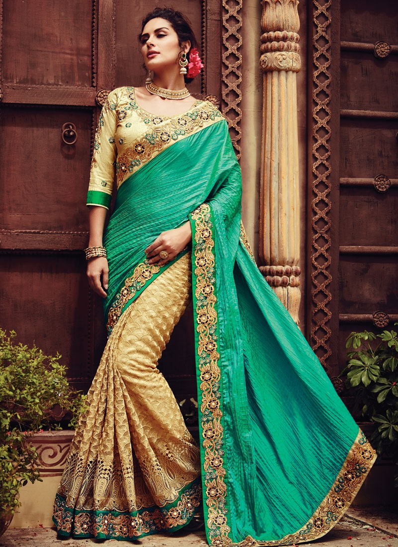 Capricious Crush Lace Work Half N Half Bridal Saree