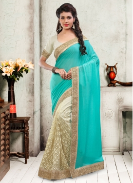 Capricious Embroidery And Lace Work Half N Half Wedding Saree