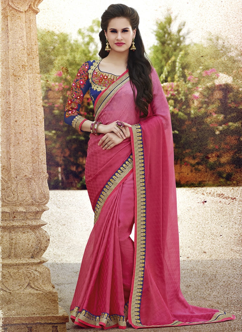 Capricious Faux Chiffon And Jacquard Party Wear Saree