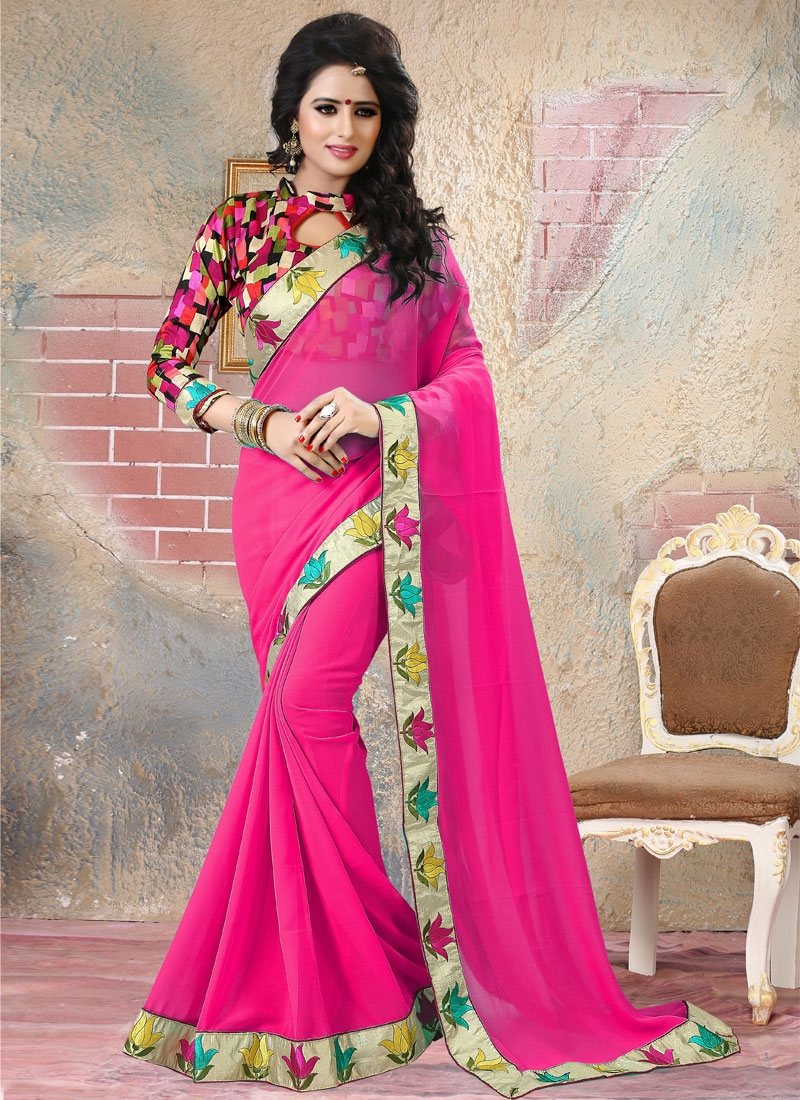 Capricious Lace And Resham Work Party Wear Saree