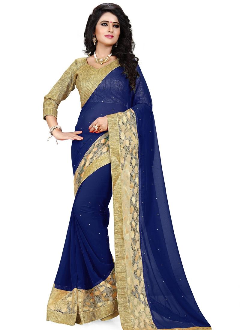Capricious Navy Blue Color Faux Georgette Party Wear Saree