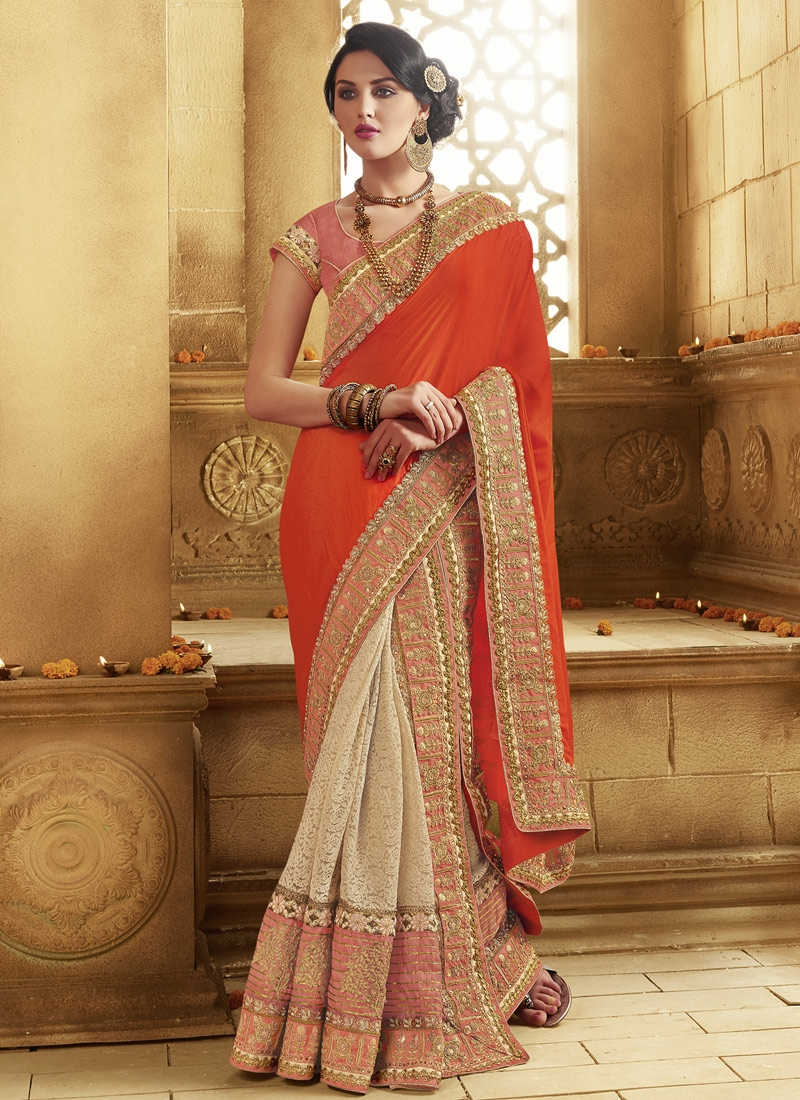 Capricious Patch Border Work Half N Half Wedding Saree