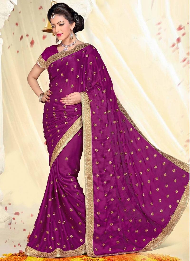 Capricious Purple Color Resham Work Party Wear Saree