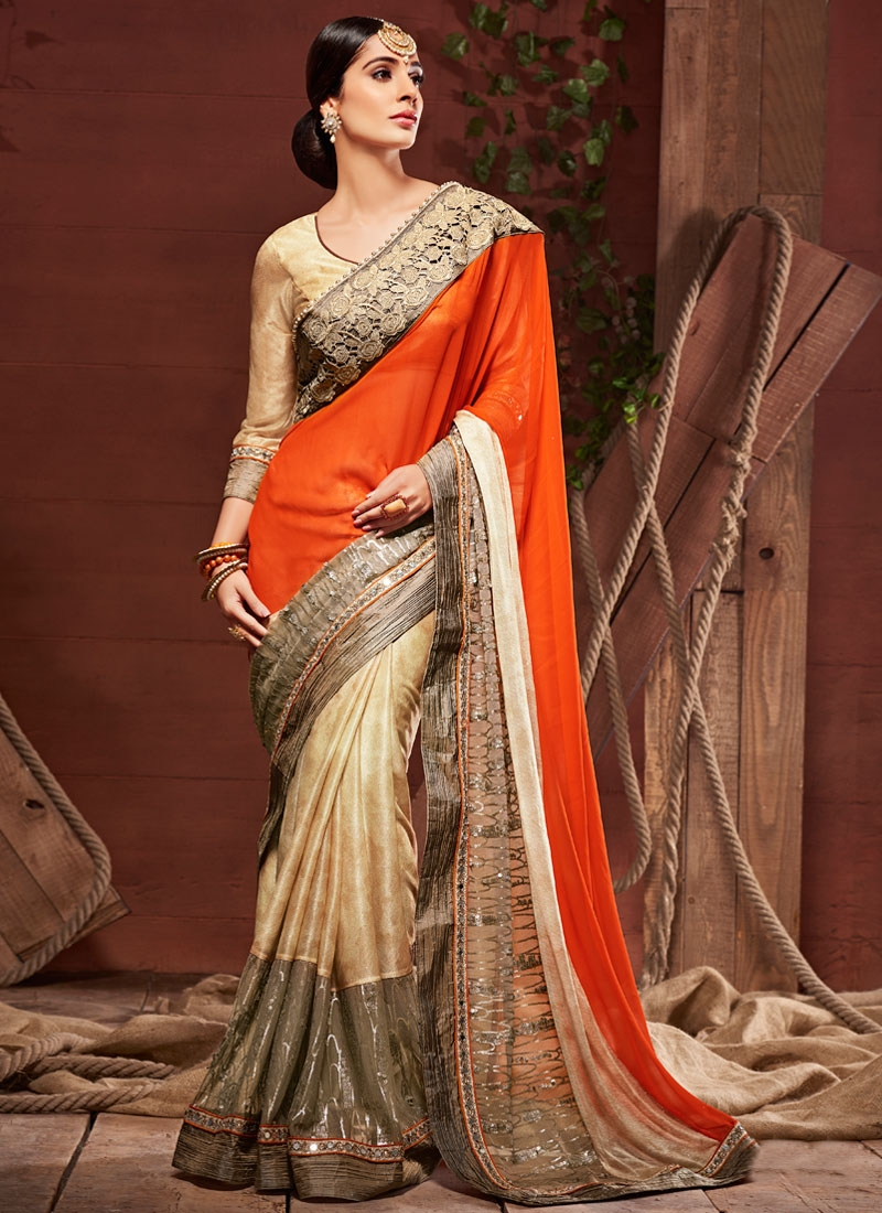Capricious Sequins And Mirror Work Wedding Saree