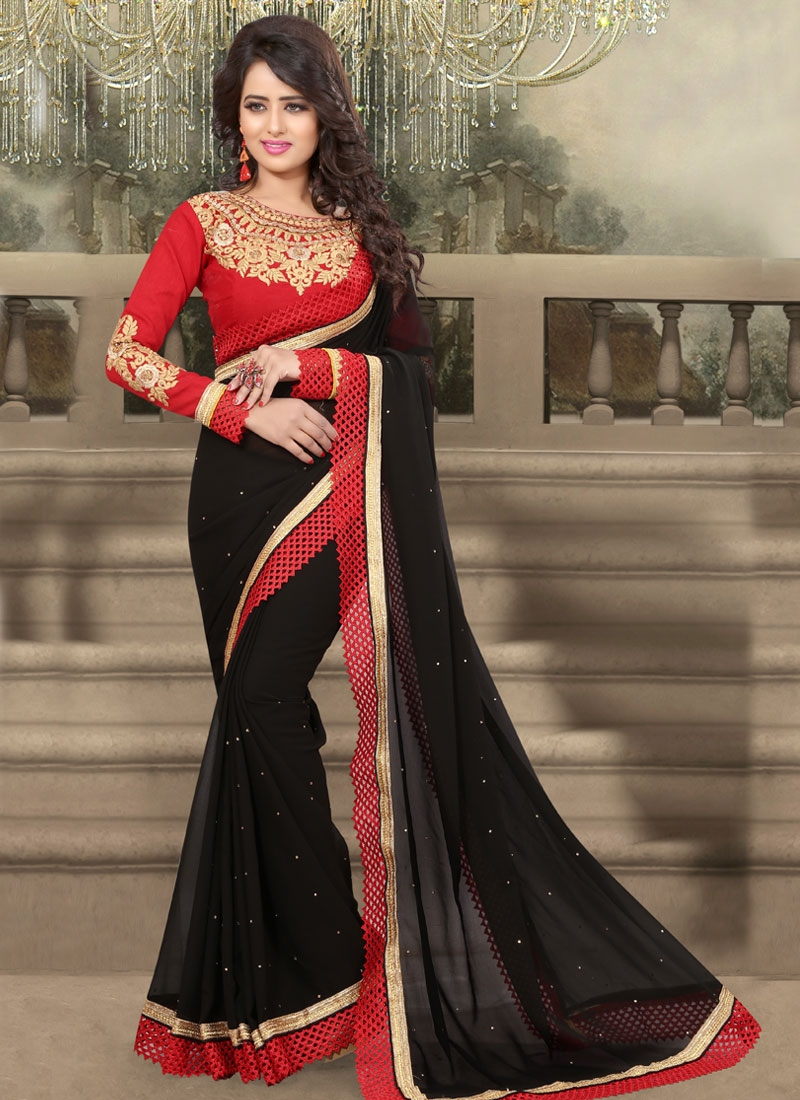Capricious Stone Work Black Color Party Wear Saree