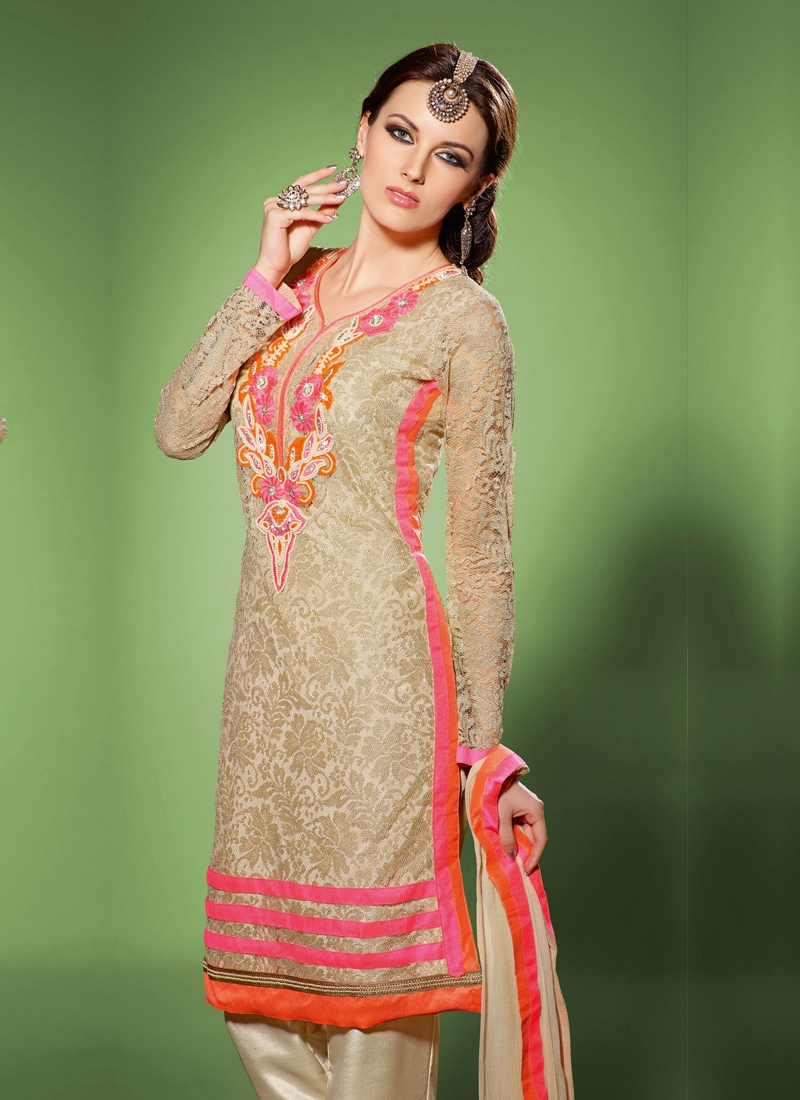 Captivating Beads And Lace Work Party Wear Suit