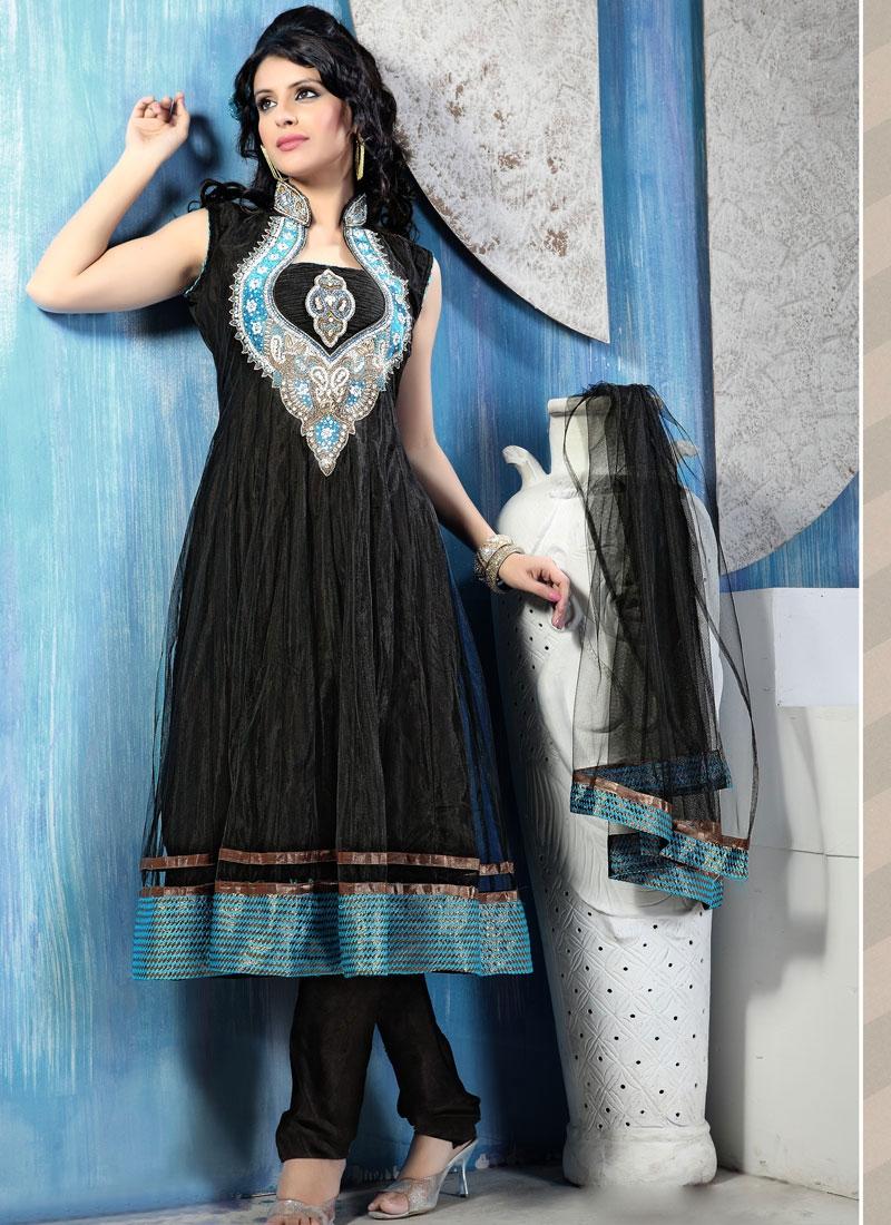 Captivating Black Color Readymade Anarkali Suit