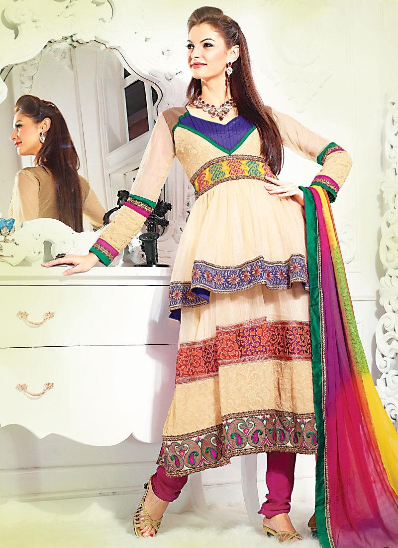 Captivating Cream And Rose Pink Salwar Suit