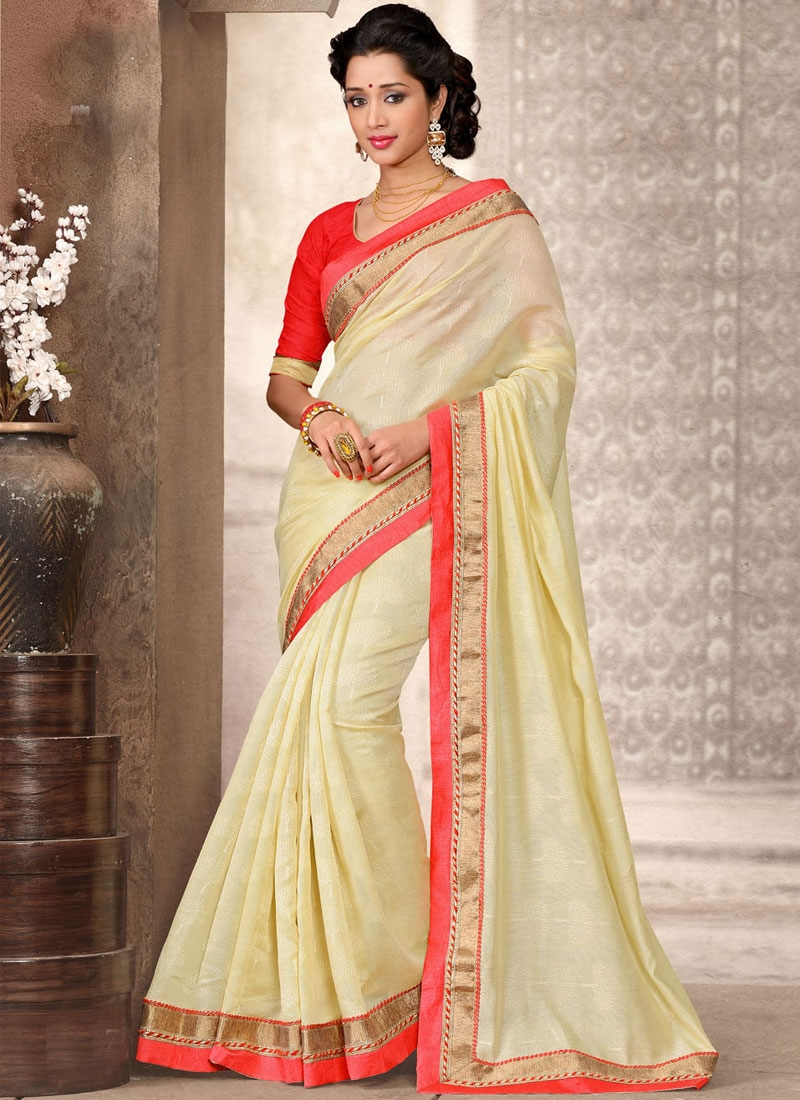 Captivating Cream Color Silk And Jacquard Casual Saree
