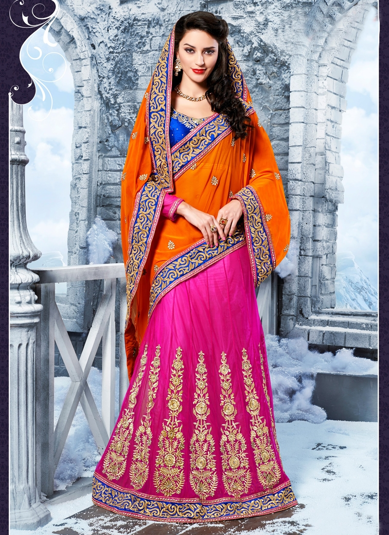 Captivating Faux Georgette And Net Lehenga Saree