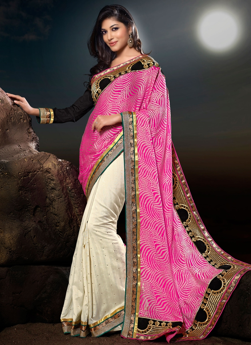 Captivating Georgette And Silk Half N Half Saree