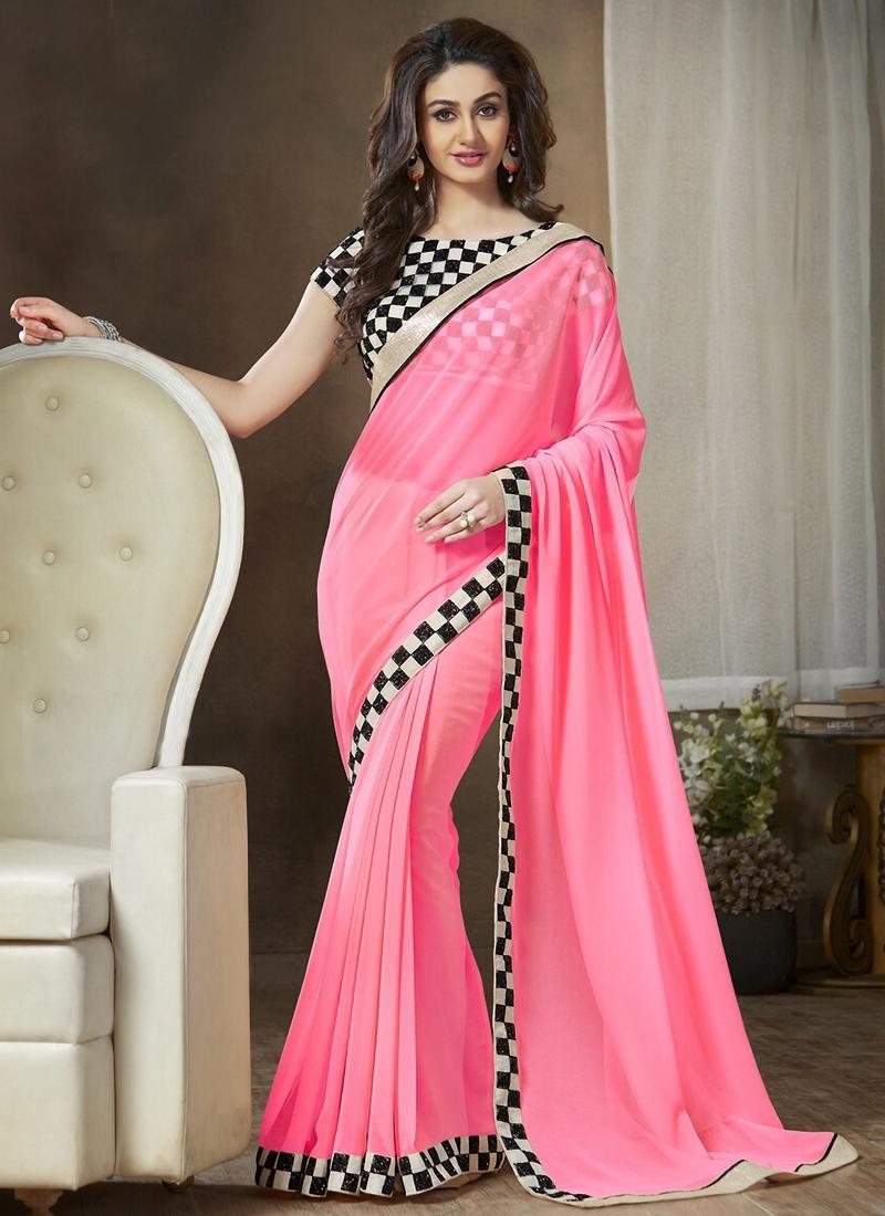 Captivating Hot Pink Color Casual Saree