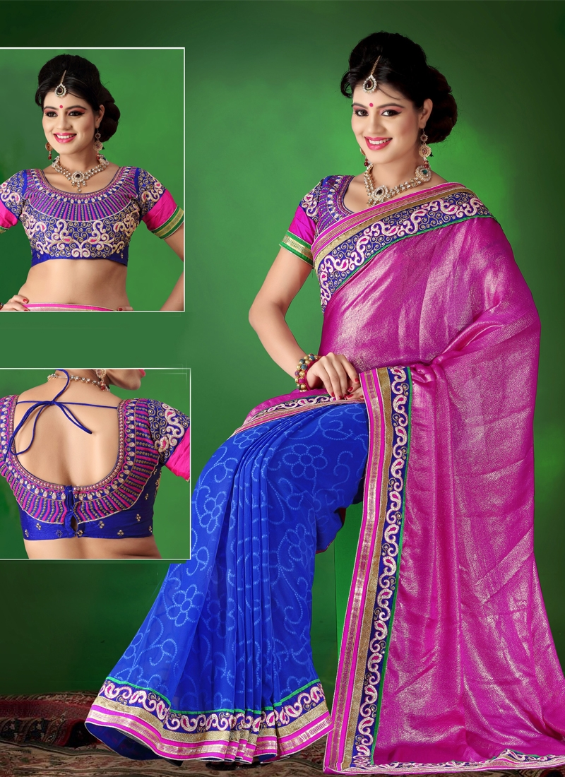 Captivating Jaal And Lace Work Half N Half Saree