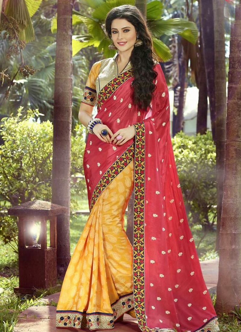 Captivating Jacquard Half N Half Wedding Saree