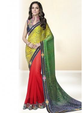 Captivating Mirror And Resham Work Half N Half Party Wear Saree