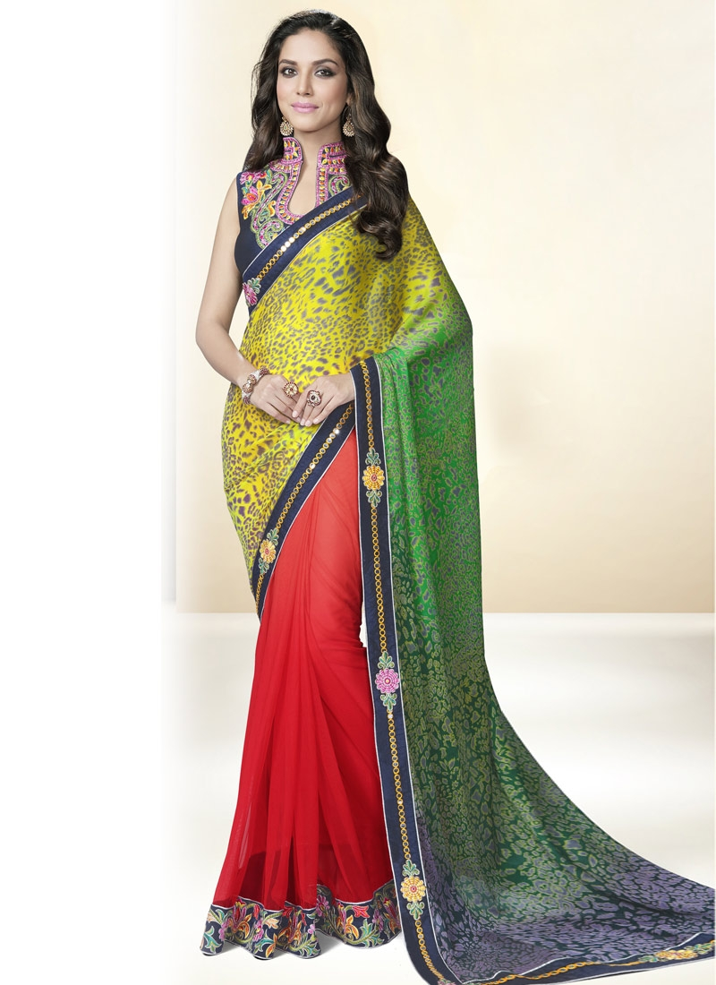 Captivating Mirror And Resham Work Half N Half Party Wear Saree