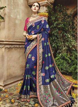 Captivating Navy Blue and Rose Pink Contemporary Saree For Party