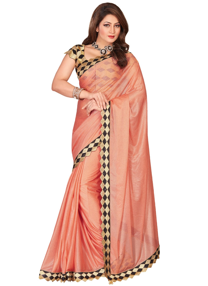 Captivating Peach Color Lycra Party Wear Saree