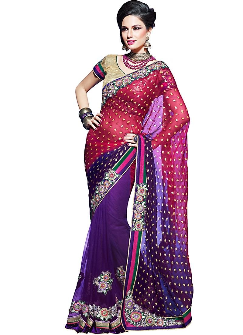 Captivating Purple And Rose Pink Net Saree