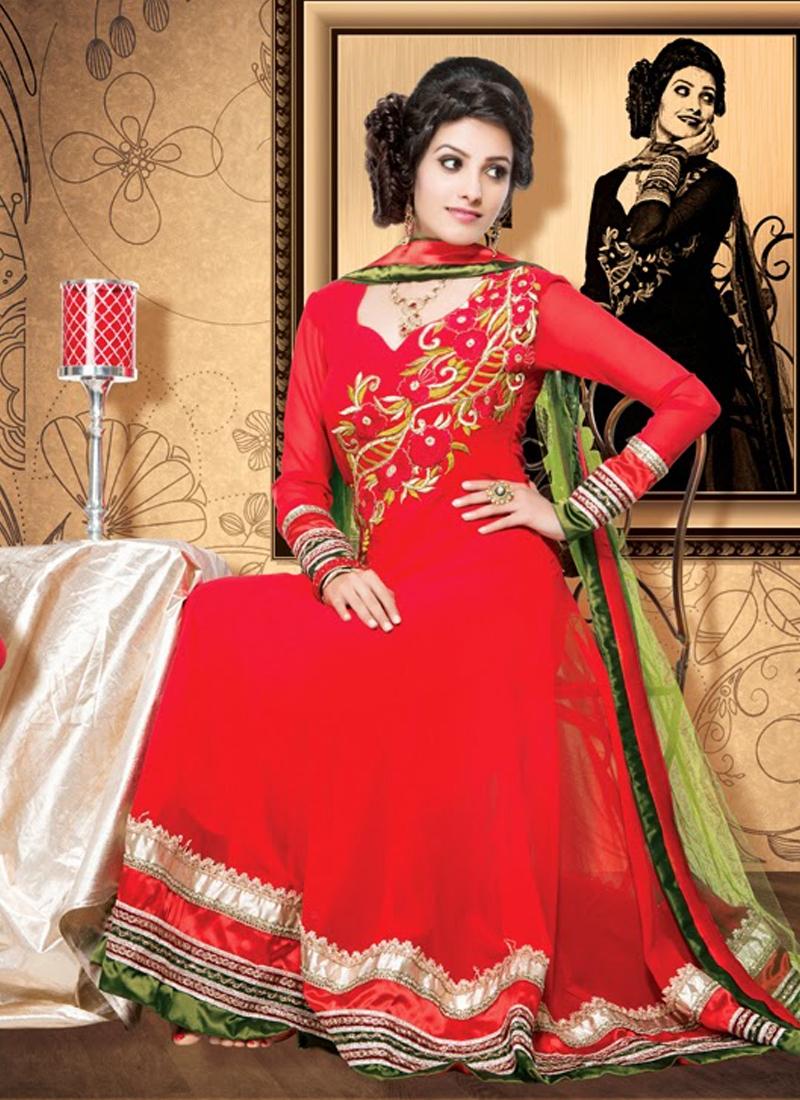Captivating Red Color Georgette Anarkali Suit