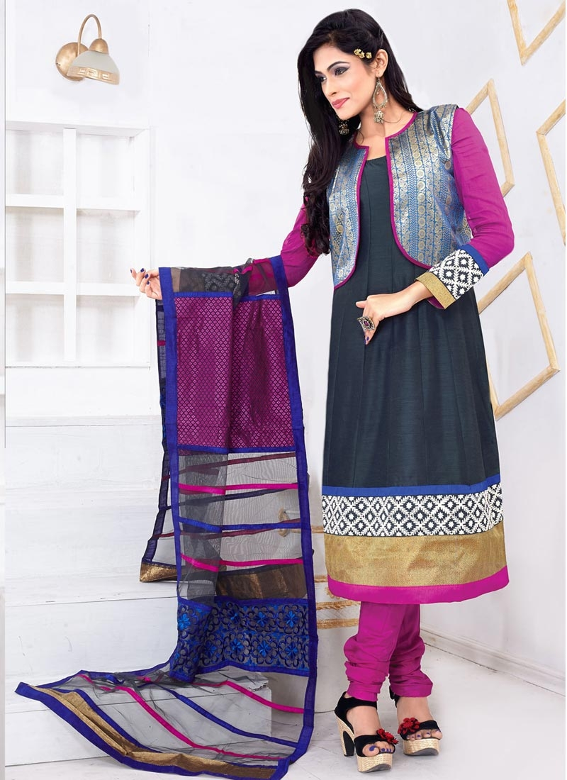 Captivating Resham Work Jacket Style Casual Salwar Suit