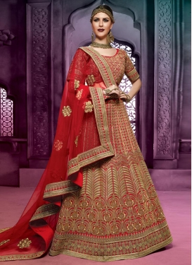 Captivating Silk Embroidered Work A - Line Lehenga