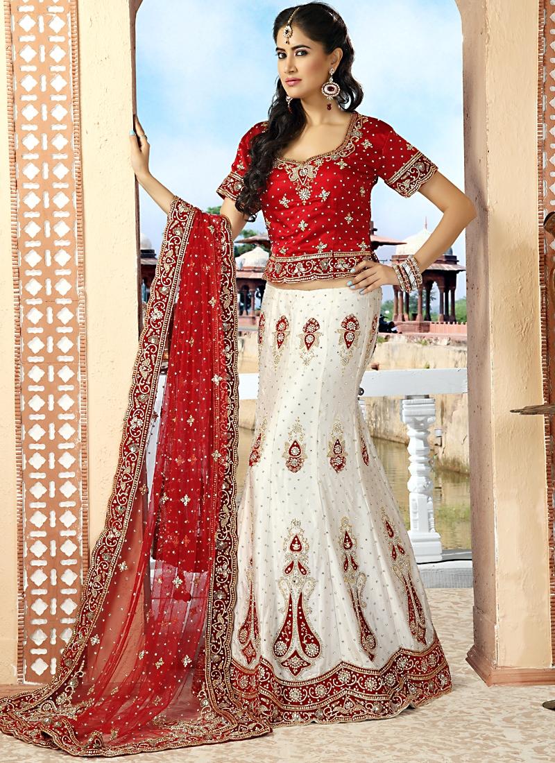 Captivating White And Red Lehenga Choli
