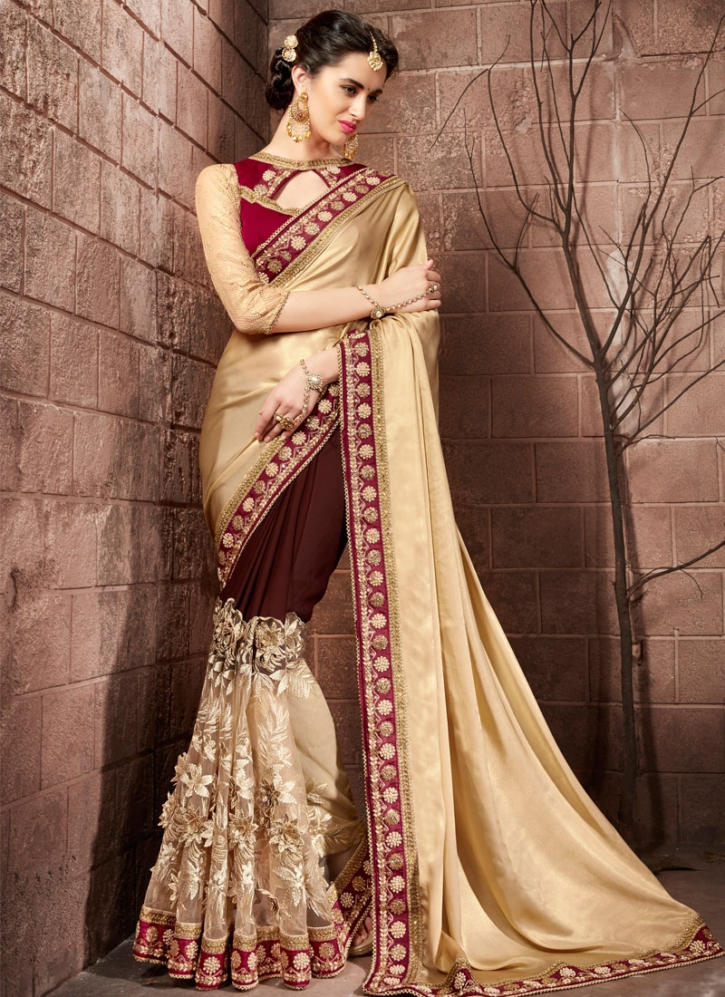 Catchy Beads Work Faux Georgette Trendy Designer Saree For