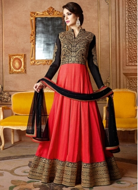 Catchy Black and Tomato Anarkali Salwar Kameez For Party
