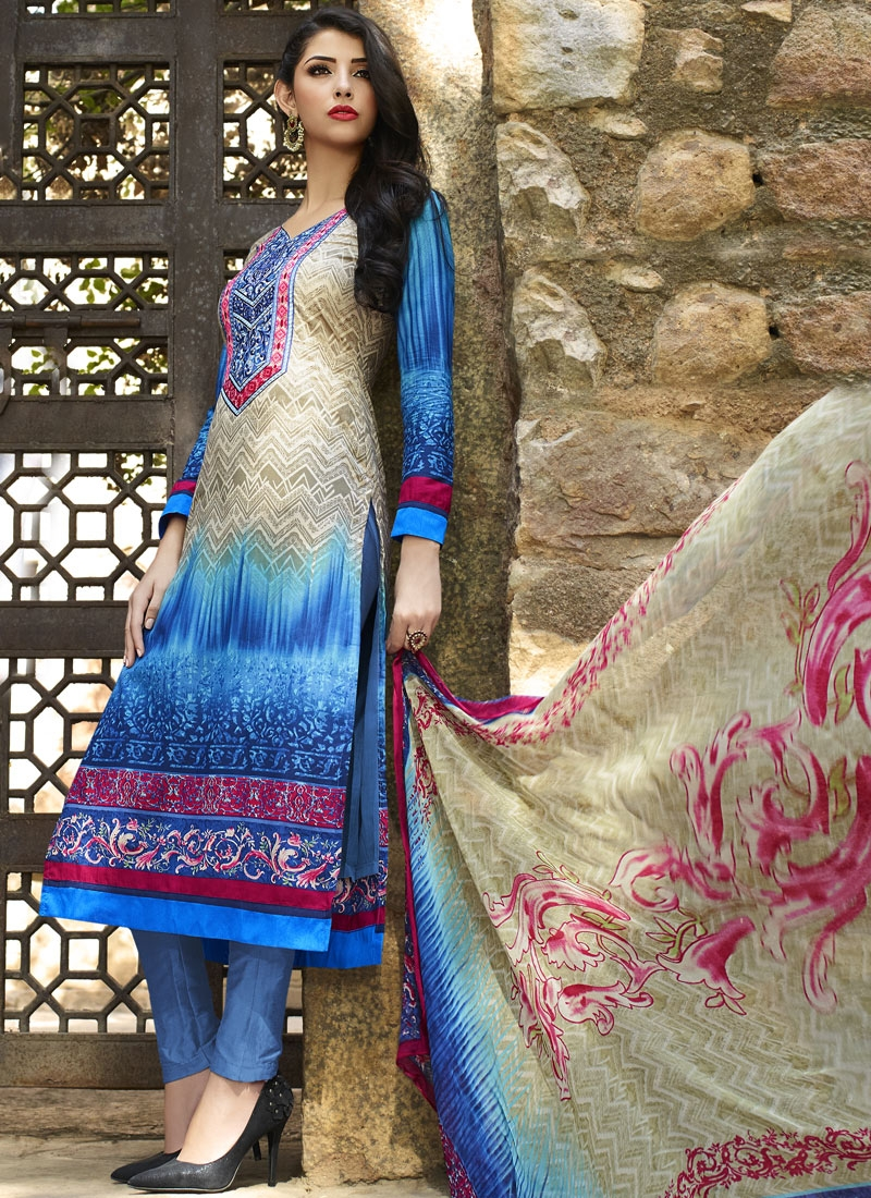 Catchy Blue And Beige Color Pant Style Party Wear Suit