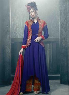 Catchy Blue Color Pant Style Salwar Kameez