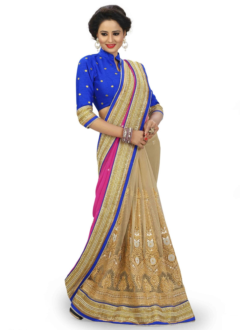 Catchy Booti Work Faux Georgette Half N Half Wedding Saree