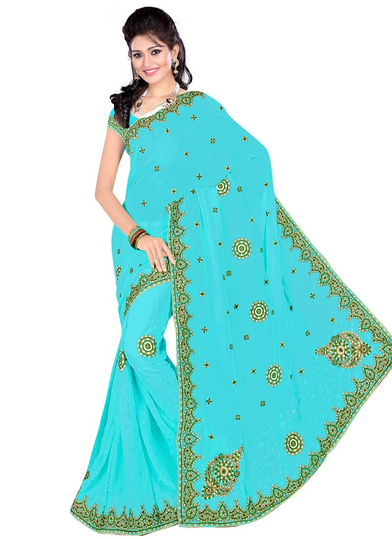 Catchy Booti Work Faux Georgette Party Wear Saree
