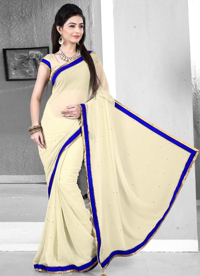 Catchy Cream Color Lace Work Casual Saree